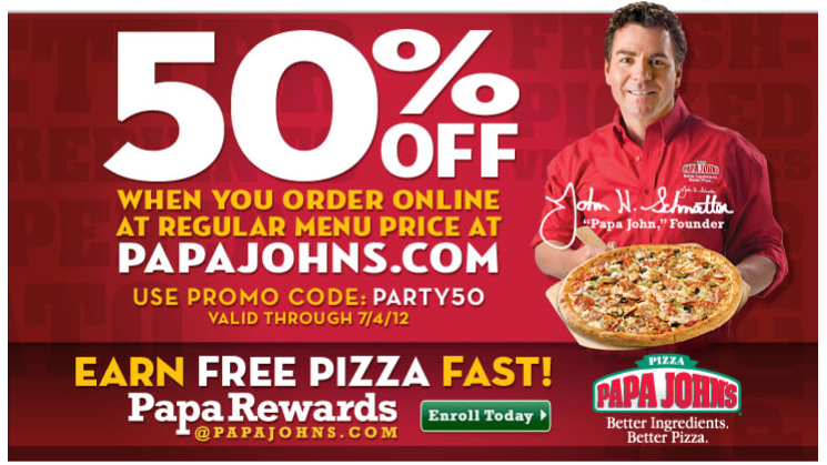 Papa johns coupon codes 50 off