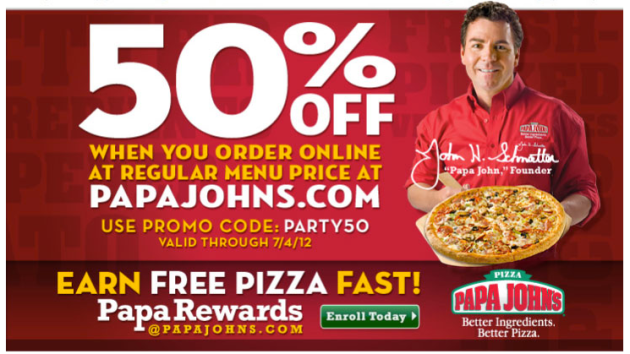 Cincinnati Only! 50% Off Regular Menu Price Pizzas. Details: Take 50% off normal food selection price pizzas the day after a Cincinnati Bengals win as well as on every Thursday. Deal good ONLINE ONLY during the Bengals season at participating Cincinnati, Dayton as well as Northern Kentucky Papa Johns dining establishments.